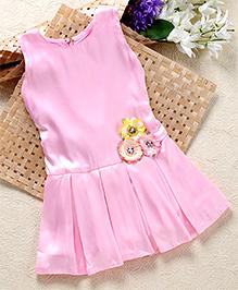 Shu Sam & Smith Low Waist Flare Dress With Flower Applique - Pink