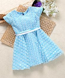Shu Sam & Smith Fit N Flare Dress With Contrast Belt - Sky Blue