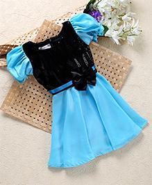 Shu Sam & Smith Fit N Flare Shimmer Dress With Flower Applique At Waist - Light Blue & Black