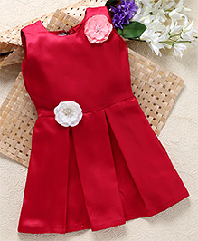 Shu Sam & Smith Box Pleat Rose Applique Dress - Maroon