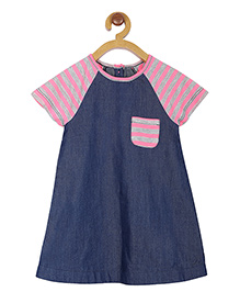 My Lil Berry Short Sleeves Frock Stripes Print - Pink Blue