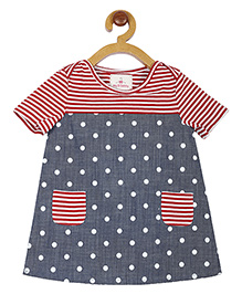 My Lil Berry Short Sleeves Frock Dots Print - Red Blue