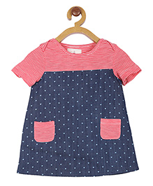 My Lil Berry Short Sleeves Frock Hearts Print - Red Blue