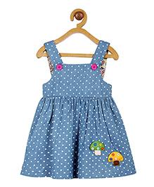 My Lil Berry Denim Polka Dot Mushroom Applique Dress - Light Blue