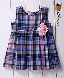 Pspeaches Checkered Dress With Floral Applique - Multicolor