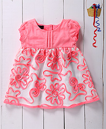 Pspeaches Ribbon Dress With Pin Tucks Bodice - Pink