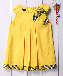 Pspeaches Kick Pleat Tunic Dress With Bow Applique - Yellow
