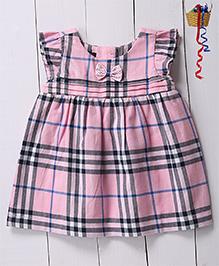 Pspeaches Checkered Flutter Sleeves Dress - Pink