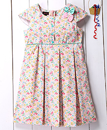 Pspeaches Cherry Printed Dress With Bow Applique - Pink