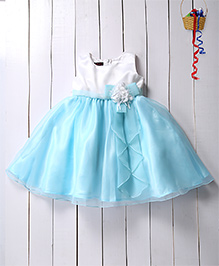 Pspeaches Flare Dress With Flower Bow Applique - Blue