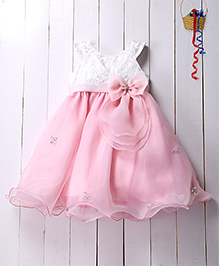 Pspeaches Bow Applique Flare Dress - Pink