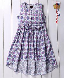 Pspeaches Owl Printed High Low Hem Flare Dress - Purple