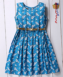 Pspeaches Parrot Printed Semi Flare Dress With Contrast Belt - Blue