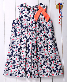 Pspeaches A-Line Floral Printed Dress With Contrast Bow - Blue