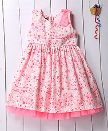 Pspeaches Bright Floral Printed Dress With Frill Hem - Pink