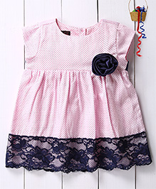 Pspeaches Polka Dot Frill Dress With Contrast Lace Hem - Light Pink & Navy