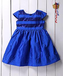 Pspeaches Shimmer Semi Flare Dress - Blue