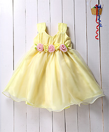 Pspeaches Flare Dress With Pin Tucks Bodice - Yellow