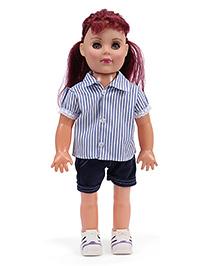 Speedage Senorita Doll Stripes Dress With Burgundy Hair Blue - 45 Cm