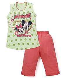 Proteens-Bodycare Sleeveless Top And Leggings Set Mickey Mouse Print - Green & Coral