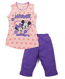 Proteens-Bodycare Sleeveless Top And Leggings Set Mickey Mouse Print - Peach & Purple