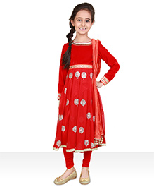 Pre Order : Chiquitita Flaired Anarkali With Legging & Crush Dupatta - Red