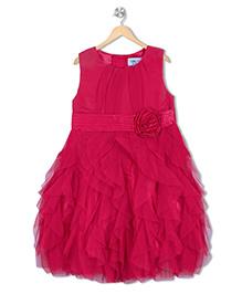 Soul Fairy Georgette Yoke With Net Ruffle Dress - Fuchsia