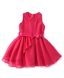 Soul Fairy Rose On Neck Party Dress - Fuchsia