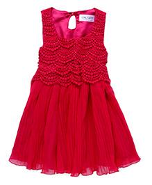 Soul Fairy Lace Yoke Pleated Dress - Fuchsia