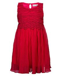 Soul Fairy Lace Yoke Pleated Dress - Maroon