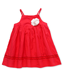 Soul Fairy Strappy Dress With Braided Straps & Lace Inserts - Coral