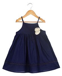 Soul Fairy Strappy Dress With Braided Straps & Lace Inserts - Navy