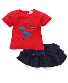 Soul Fairy Georgette Ruffle Skirt With Cat Print Tee - Red & Navy