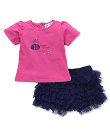 Soul Fairy Net Ruffle Divided Skirt With Tee - Pink & Navy Blue