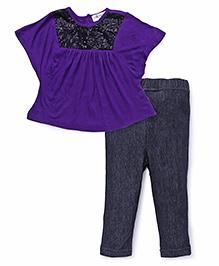 Soul Fairy Sequin Tee With Leggings - Purple