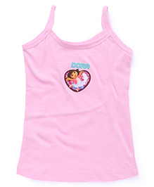 Dora Plain Solid Color Slip With Print - Light Pink