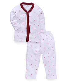 Playbeez Full Sleeves Night Suit Floral Print - White Maroon