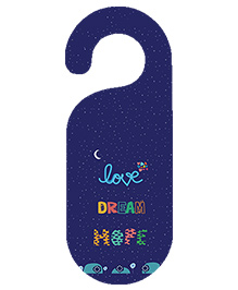 The Crazy Me Love Dream Hope Printed Door Hanger - Navy Blue