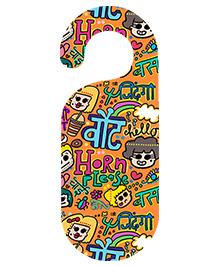 The Crazy Me Horn Ok Please Printed Door Hanger - Orange
