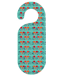 The Crazy Me Elephant Printed Door Hanger - Aqua Green