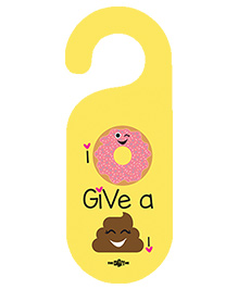 The Crazy Me I Don'T Give A Shit Printed Door Hanger - Lemon Yellow