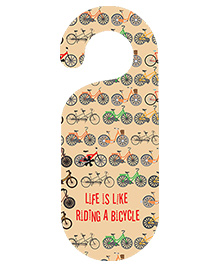 The Crazy Me Riding A Bicycle Printed Door Hanger - Beige