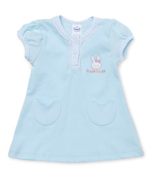 Simply Short Sleeves Front With Two Pockets - Sky Blue