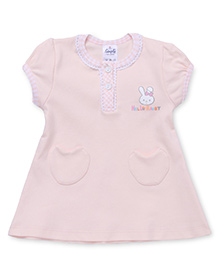Simply Short Sleeves Front With Two Pockets - Light Peach