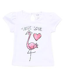 Simply Half Sleeves Top True Love Print - White