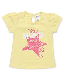 Simply Half Sleeves Tee You Make Me Smile Print - Yellow