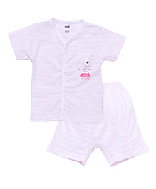 Simply Short Sleeves Front Open T-Shirt & Shorts Stripes Print - Light Pink