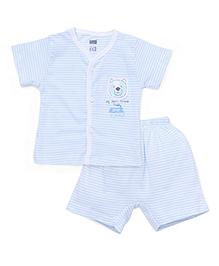 Simply Short Sleeves Front Open T-Shirt & Shorts Stripes Print - Light Blue