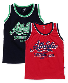 Simply Sleeveless Vests Pack of 2 - Navy Red