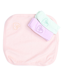 Simply Hand & Face Towels Butterfly Print - Peach Pink & Light Green